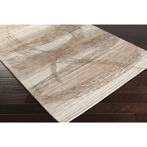 Handmade Silas Olive and Beige Abstract Rayon from Bamboo Area Rug - 2' x 3'