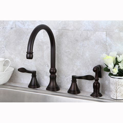 Modern Widespread Oil Rubbed Bronze Kitchen Faucet with Side Sprayer - Oil Rubbed bronze