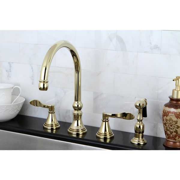 Modern Widespread Polished Brass Kitchen Faucet with Side