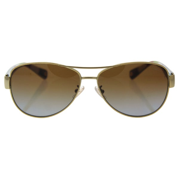 b82fa502000 Shop Coach Women s Kristina Gold  Tortoise Aviator Sunglasses - Free ...