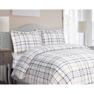 Modern Plaid 3-piece Flannel Duvet Cover Set