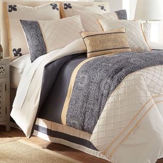 Amraupur Overseas Lyra 8-piece Embroidered Ivory Comforter Set