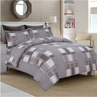 Modern Stripe 3-piece Flannel Duvet Cover Set