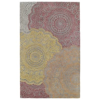 Hand-Tufted Ombre Fire Pinwheel Rug - 5' x 7'9