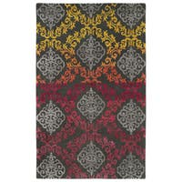 Hand-Tufted Ombre Fire Damask Rug (5' x 7'9)