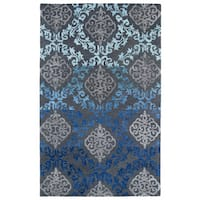 Hand-Tufted Ombre Ice Damask Rug (5' x 7'9) - 5' x 7'9