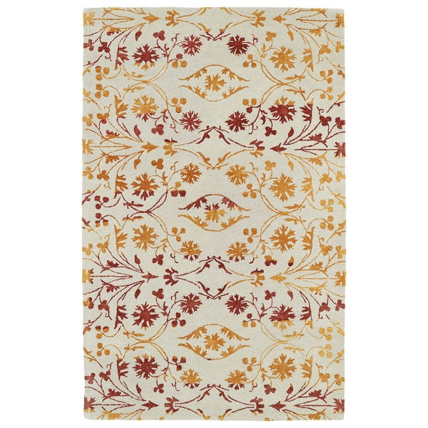 Hand-Tufted Ombre Fire Floral Rug (9'6 x 13')