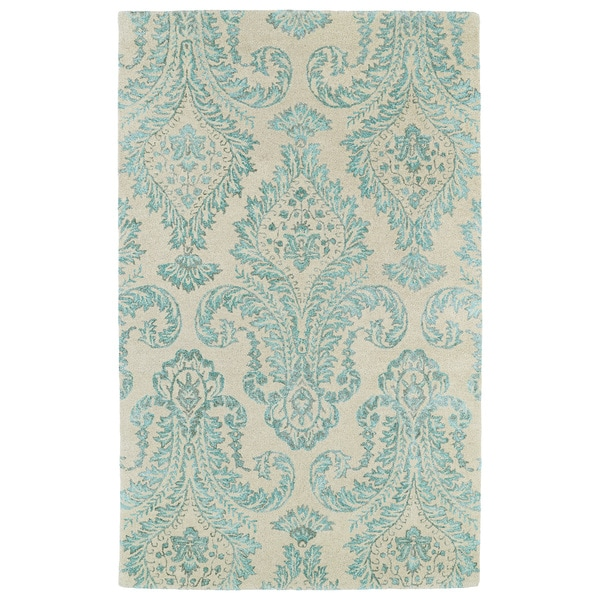 Shop Hand Tufted Ombre Turquoise Damask Rug 9 6 X 13