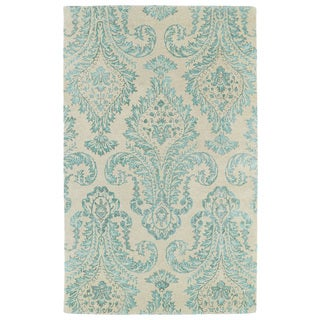 Hand-Tufted Ombre Turquoise Damask Rug (5'0 x 7'9)