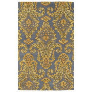 Hand-Tufted Ombre Gold Damask Rug (5' x 7'9)
