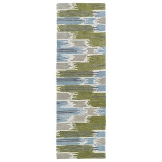 Hand-Tufted de Leon Ikat Wasabi Rug (2'6 x 8')