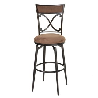 Montgomery Metal Barstool with Cocoa Microfiber Swivel-Seat