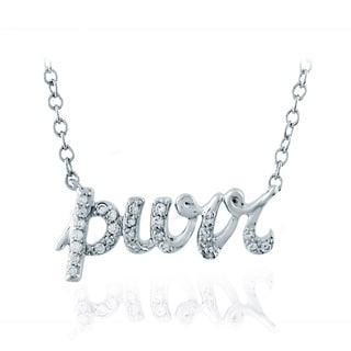 ASPCA Tender Voices Sterling Silver 'Purr' Pendant 1/10CTtw Diamond Accent Necklace (I-J, I2-I3)
