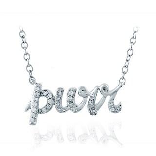 ASPCA Tender Voices Sterling Silver 'Purr' Pendant 1/10CTtw Diamond Accent Necklace