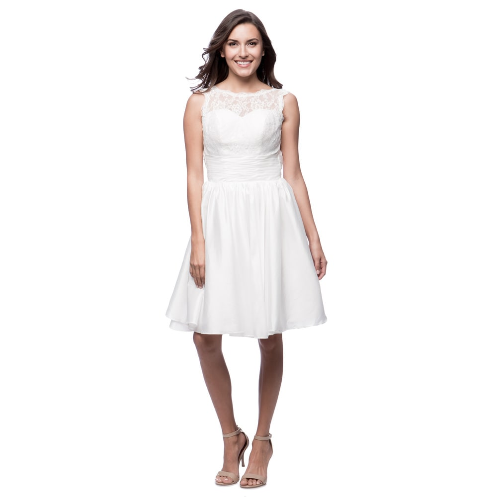 Robin DS Womens Fit-and-flare Knee-length Lace Dress
