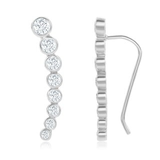 La Preciosa Sterling Silver Cubic Zirconia Crawler-climber Bar Earrings