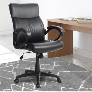 CorLiving WHL-106-C Black Leatherette Managerial Office Chair