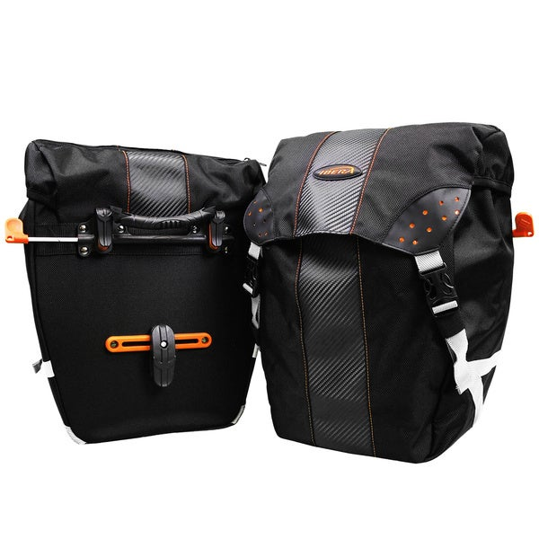 Ibera Bike PakRak Clip-on Quick-release All Weather Panniers with Rain Cover (Set of 2)