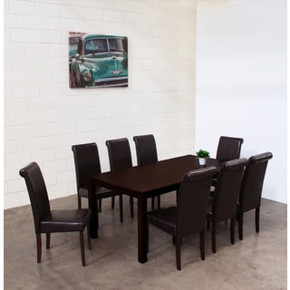 Warehouse of Tiffany Jewel Brown Leatherette 9-piece Dining Set