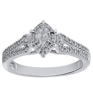 Bridal Symphony 10k White Gold 0.37CTtw Marquise-cut Diamond Engagement Ring