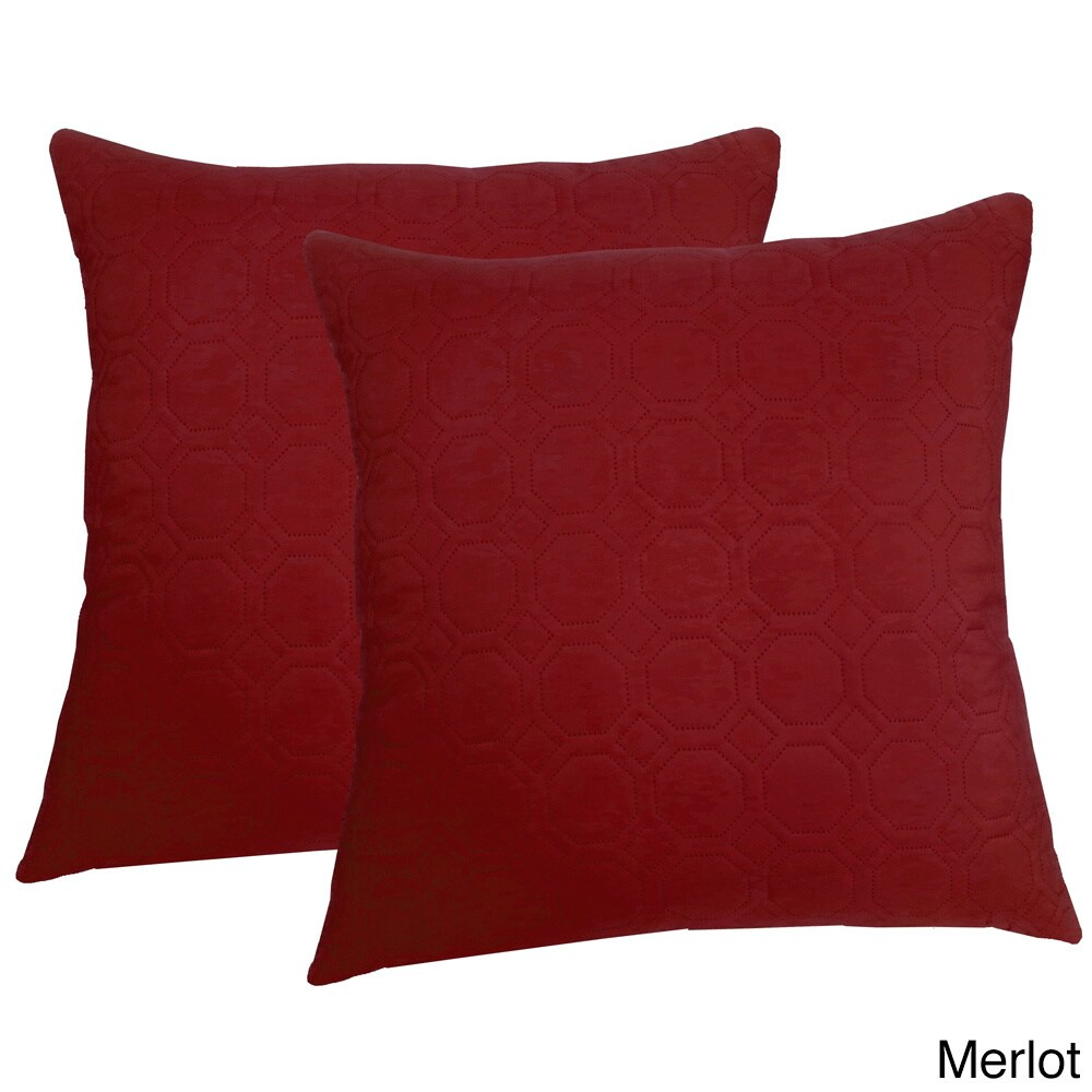 Microfiber Sonic Quilted Honeycomb 20 Inch Throw Pillows Set Of 2