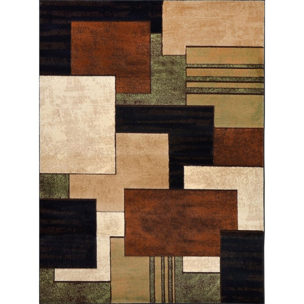 Home Dynamix Tribeca Collection Contemporary Brown-Green Area Rug (7'10 X 10'6)