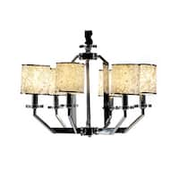 Kokols 6-Light White Drum Polished Chrome Crystal Chandelier