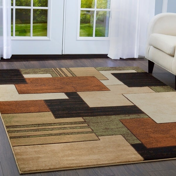 "Home Dynamix Tribeca Collection Contemporary Brown-Green Area Rug (5'2"" x 7'2"")"