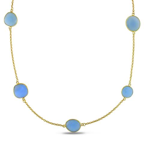 Miadora Yellow Goldplated Silver Blue Onyx Yard Necklace