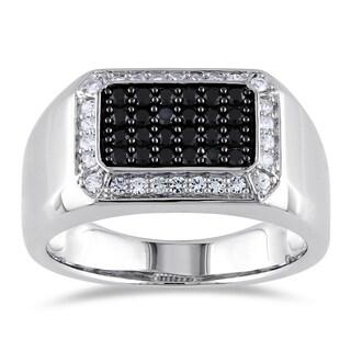 Miadora Sterling Silver Men's Black Spinel White Sapphire Ring