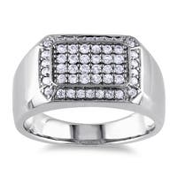 Miadora Sterling Silver Men's White Sapphire Ring