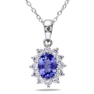 Miadora Sterling Silver Tanzanite and Created White Sapphire Necklace