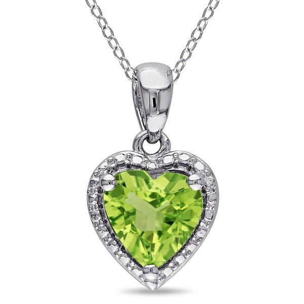 Miadora Sterling Silver Peridot Heart Necklace