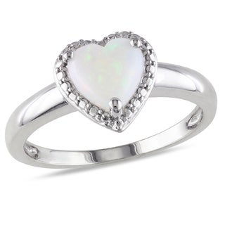 Miadora Sterling Silver Opal Heart Ring