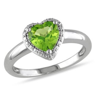 Miadora Sterling Silver Peridot Heart Ring