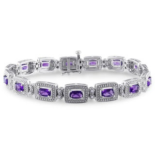 Miadora Silver Amethyst and 1/10ct TDW Diamond Bracelet (H-I, I2-I3)