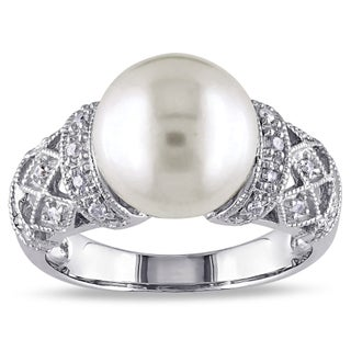 Miadora Silver Cultured White Pearl and 1/10ct TDW Diamond Ring (H-I, I2-I3) (5 options available)