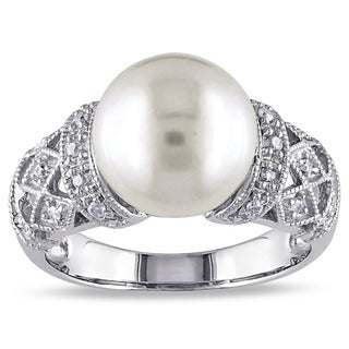 Link to Miadora Silver Cultured White Pearl and 1/10ct TDW Diamond Ring (H-I, I2-I3) Similar Items in Rings