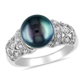 Miadora Silver Black Freshwater Pearl 1/10ct TDW Diamond Ring (H-I, I2-I3) (9-10 mm)