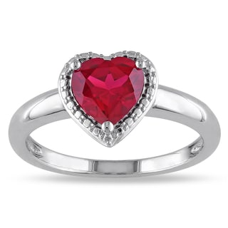 Miadora Sterling Silver Created Ruby Heart Ring