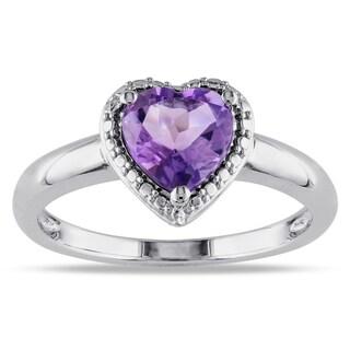 Miadora Sterling Silver Amethyst Heart Ring