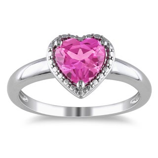Miadora Sterling Silver Created Pink Sapphire Heart Ring