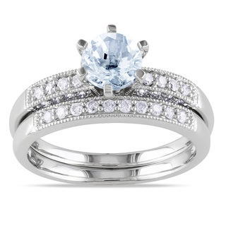 Miadora 10k White Gold Aquamarine 1/3ct TDW Diamond Bridal Ring Set