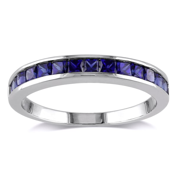 Miadora sterling silver 2 1 4ct tgw square cut created blue and white