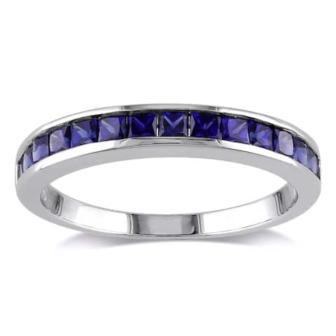 Miadora Sterling Silver Created Blue Sapphire Eternity Ring