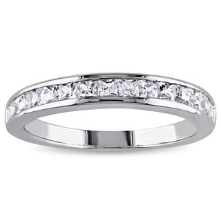 Miadora Sterling Silver Created White Sapphire Eternity Ring