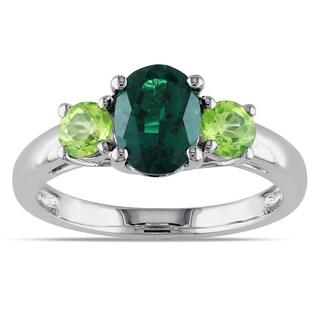 Miadora Sterling Silver Created Emerald Peridot 3-stone Ring