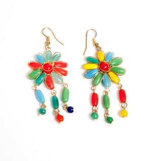 Sitara Collections Blooming Flower Rainbow Beaded Earrings (India)