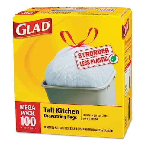 GLAD Tall Kitchen Drawstring Bags, 13gal, .95mil, White, 100/Box