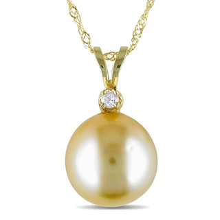 Miadora 14k Gold South Sea Pearl Diamond Accent Necklace (9-10 mm)